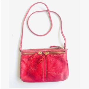 Fossil Red Leather Destressed Crossbody Purse